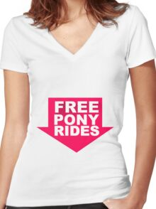 Free Pony Rides Women's Fitted V-Neck T-Shirt