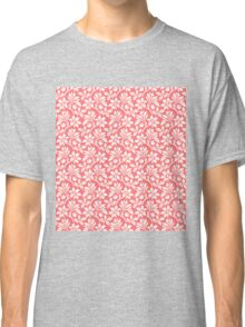 Pink Vintage Wallpaper Style Flower Patterns Classic T-Shirt