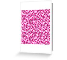 Hot Pink Vintage Wallpaper Style Flower Patterns Greeting Card