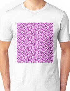 Magenta Vintage Wallpaper Style Flower Patterns Unisex T-Shirt