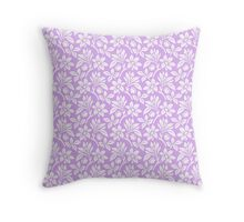 Lilac Vintage Wallpaper Style Flower Patterns Throw Pillow