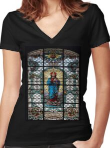 Votive Stained Glass Window Women's Fitted V-Neck T-Shirt