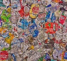 bale of recycled aluminum cans- a study in flattening by David Chesluk