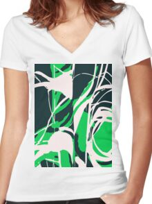Abstract Splash Women's Fitted V-Neck T-Shirt