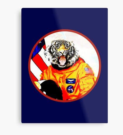 Astronaut Tiger Metal Print