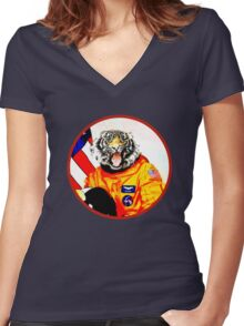 Astronaut Tiger Women's Fitted V-Neck T-Shirt