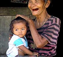 Grandmother and child, Lalau, Floris, Indonesia  by suellewellyn