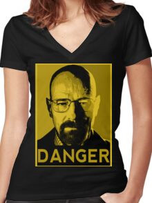 Danger White Women's Fitted V-Neck T-Shirt