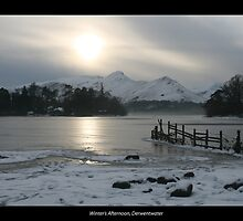 Winter's Afternoon, Derwentwater with border by Peter  Thomas