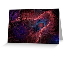 Red Fractal Abstract Greeting Card
