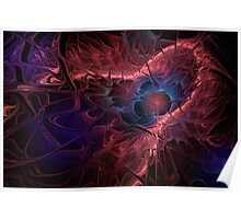 Red Fractal Abstract Poster