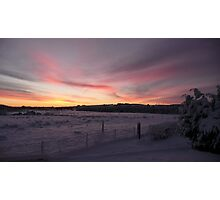 Sunrise on snowy fields, wide format Photographic Print