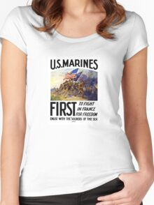US Marines -- First To Fight In France For Freedom Women's Fitted Scoop T-Shirt
