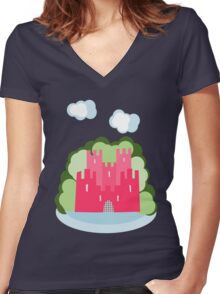 Castle with clouds and trees Women's Fitted V-Neck T-Shirt