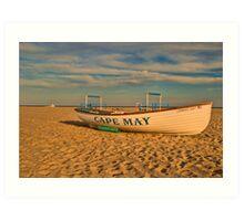 Lifeboat at sunset Art Print