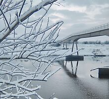 Saltney Ferry FootBridge over Almost Frozen River Dee on the Wales/England Border by Michaela1991