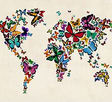 Butterflies Map of the World by Michael Tompsett