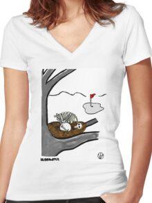 Golf Ball. Women's Fitted V-Neck T-Shirt