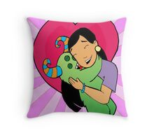 Happy valentines day...monster hug Throw Pillow