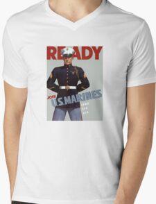 Ready -- Join U.S. Marines -- Land Sea Air Mens V-Neck T-Shirt