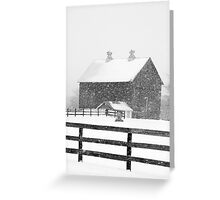 Barn in a Snowstorm Greeting Card