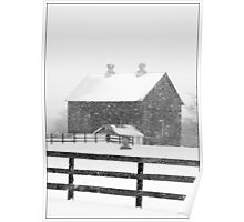 Barn in a Snowstorm Poster