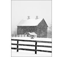 Barn in a Snowstorm Photographic Print