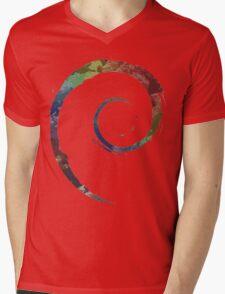 Colorful Debian Mens V-Neck T-Shirt