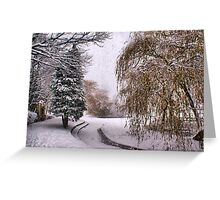 The Willow Weeps Frozen Tears Into The Frozen Stream.... Greeting Card