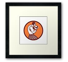 Scotsman Weight Throw Circle Retro Framed Print