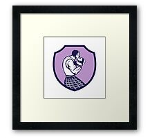 Scotsman Weight Throw Crest Retro Framed Print