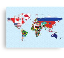 Map of World as flags Canvas Print