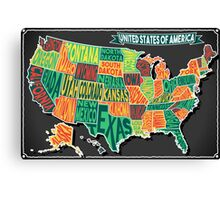 USA Map on Vintage Blackboard Canvas Print