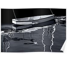 Tethered White Boat Victoria BW Poster