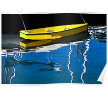 Tethered Yellow Boat Victoria Color Poster