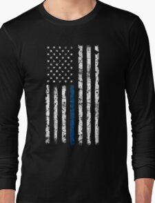 Blue Line (White) V2 Vertical Long Sleeve T-Shirt