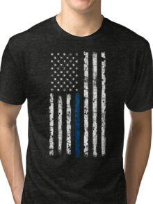 Blue Line (White) V2 Vertical Tri-blend T-Shirt