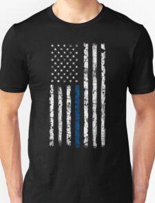 Blue Line (White) V2 Vertical Unisex T-Shirt