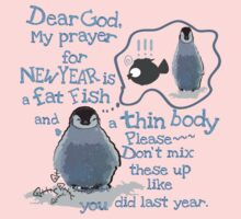 Baby penguin's funny New Year's resolution Kids Tee