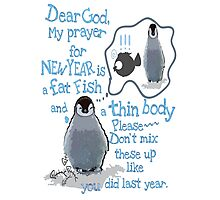 Baby penguin's funny New Year's resolution Photographic Print