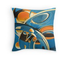 Blue and Ornage Abstract Throw Pillow