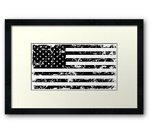 American Flag - Distressed (Black) Framed Print