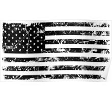 American Flag - Distressed (Black) Poster