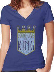 Kansas City Royals - Crown Women's Fitted V-Neck T-Shirt