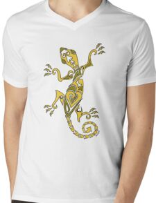 Lizard Tattoo Yellow Mens V-Neck T-Shirt