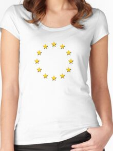 Europe - I Love The European Union ~ EU Flag T-Shirt Drapeau Design Women's Fitted Scoop T-Shirt