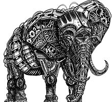 Mechanical Elephant steampunk animal vintage retro art by GinjaNinja1801