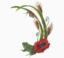 Frog and Poppies beneath Wheat, Grass and Snail Wildlife Kids Tee