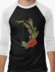 Frog and Poppies beneath Wheat, Grass and Snail Wildlife Men's Baseball ¾ T-Shirt