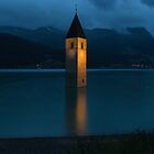 Reschensee by Night by Yair Karelic